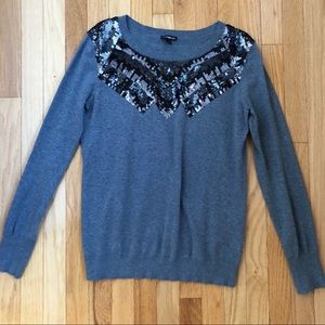 EXPRESS gray sequin sweater large